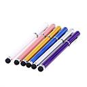 2 trozos envasados Clip 2-en-uno en Bolígrafo Diseñado táctil de metal lápiz óptico para iPad y otros (colores aleatorios)