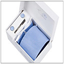 Mens Fashionable Blue Checked Polyester Ties Set: Tie,Hankie,Cufflink,Tie Clip,Box with Bag