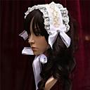 Novia de la flor Beige Ribbons White Pearl Princesa Lolita diadema