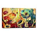 Mano óleo pintada pintura floral de la primavera salvaje con colorido con el marco de estirado