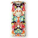 ZG Womens Vintage Floral Print Sleeveless Dress