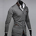 Mens Slim Stand Knitting Small Single Breasted Contrast Color Suit