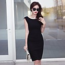 Womens Sexy Sleeveless Polyester Slim Dress with Back Zipper