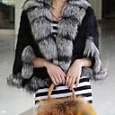 Half Sleeve Shawl Mink Fur And Fox Fur Collar Party/Casual Jacket