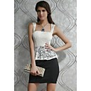 Womens White Lace Black Peplum Dress