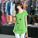 Womens Fashion Round Neck And Long Sections Of Code Windmill Prints T-shirt