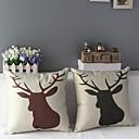 Conjunto de 2 Precioso Brown y cubiertas de la cabeza de la almohada decorativa gris claro Reno