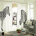 (Two Panels Grommet Top) Fancy Drapery Style Designer Hand Painted Zebra Pattern Eco-friendly Curtain (102W × 84L)