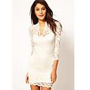 De Z  G Mujeres V cuello atractivo Bodycon 3/4 de la manga del vestido de encaje blanco