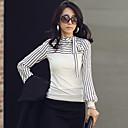 camisa de manga larga Yiluo rayas elegantes con bowknot (blanco)