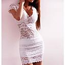 Doble V-cuello del vestido del cordón atractivo de las mujeres de la Luna Domingo
