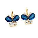 MISS U Womens Vintage Double Color Butterfly Crystal Earrings