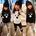 Girls Three Button Cartoon Face Long Sleeve Clothing Sets