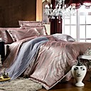 Xanlenss 4-Piece Silvery Grey Jacquard Cotton Duvet Cover Set
