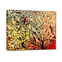 Pintado a mano pintura al óleo animal de los pájaros que cantan en el árbol con el marco de estirado