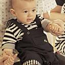 Childrens Striped Short-Sleeve T-Shirt  Suspenders Short Clothing Sets