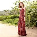 Womens Bohemia Ice Silk Skirt Cultivate Ones Morality Show Thin V-neck Condole Dress