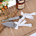 Serving Sets Wedding Cake Knife Personalized  Cake Serving Set with Bow and Heart Faux Pearl