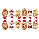 12PCS Mini perros mascotas con el sombrero de la Navidad del modelo Pegatinas Nail Art Luminoso