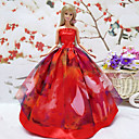 Barbie Doll Red Rose Design Princess Wedding Dress