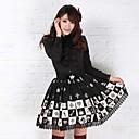 alice ajedrez encantadora princesa hasta la rodilla de poliéster negro falda lolita gótica