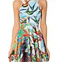 Womens Round Collar Birds Pattern Print Sleevless Dress