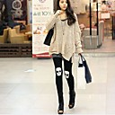 Womens Fashion Skull Pattern Solid Color Legging