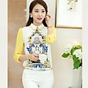 Women's Sweet Cartoon Pattern Sheath Blouse  Long Sleeve Shirt