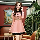 Womens Shirt Collar Lace Hem Bodycon Dress