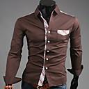 U2M2 Mens Profession Coffee Lapel Neck Check Pocket Buckle  Shirt