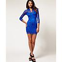 De Z  G Mujeres V cuello atractivo Bodycon 3/4 de la manga del cordón del vestido de azul