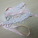 Blanco hecho a mano del cordón de Lolita dulce Collar con perlas