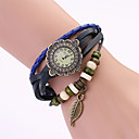 Koshi 2014 Womens Fashion Vintage Leaf Leather Chain Watch (Blue)