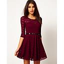 De Z  G Mujer de encaje de caramelo de vino del color del vestido con la correa