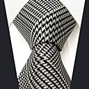 Mens Business Check Pattern White Silk Necktie