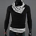 Camisa del suéter de cuello alto UYUK Hombre Profesión Negro Sttipe Base de manga larga