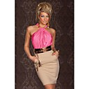 Womens Dizzying Pink Ruched Halterneck Cocktail Fashion Dress