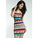 Womens Fancy Form-fitting Stretch Mini Dress with Ethnic-print Blue Red