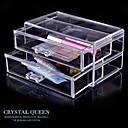 2-Cajones Europea Transparente joyería de las mujeres Organizador cajas de cosméticos de almacenamiento