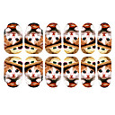 12PCS precioso sombrero de Pegatinas Arte Kitten Patrón uñas luminoso Wear