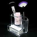 Acrílico Transparente 2en1 Cosméticos Almacenamiento Soporte de cepillo del maquillaje Pot  Swab Caja Cosmética Organizador