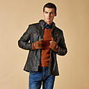 Gentleman Personality in Long Male Leather Jacket
