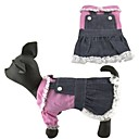 Adorable Princesa Estilo Gatos Perros Denim Dress