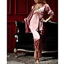 Womens Three Pieces Classic Pajamas With Rope