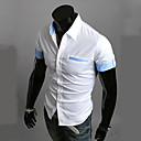 Mens Slim Contrast Color Folded Cuffs Casual Short Sleeve Shirts