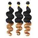 100% pelo humano que teje dos tonos de color del pelo brasileño de la Virgen Ombre 16Inches onda del cuerpo