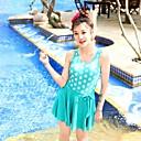 Además de las mujeres Tamaño Vintage Polka Dot de una pieza de la nadada vestido de baño del bañador