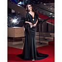 Image of A sirena A V Strascico a terra Raso elasticizzato Serata formale Vestito con Dettagli con cristalli di TS Couture