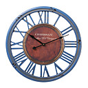 18H Wood Blue Roman Numbers Wall Clock