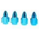 4 piezas de metal en forma de Rocket válvulas del neumático